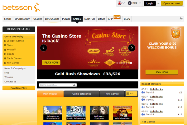 Betsson Casino screen shot
